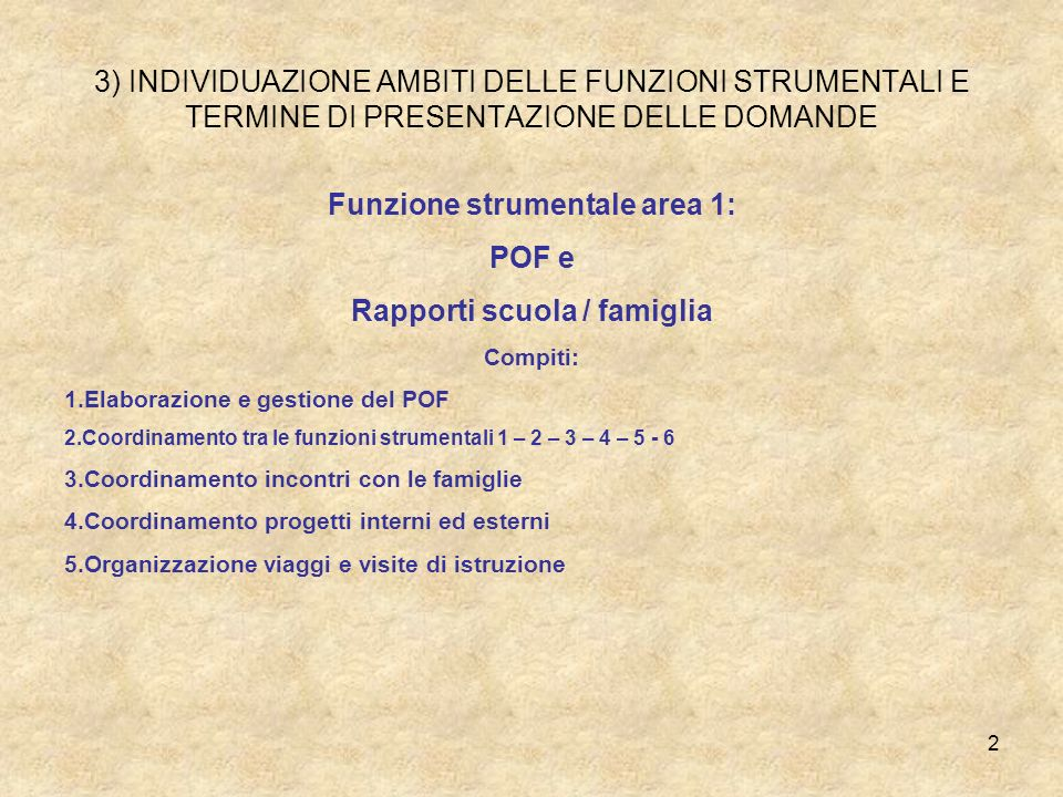 Funzione strumentale area 1: Rapporti scuola / famiglia