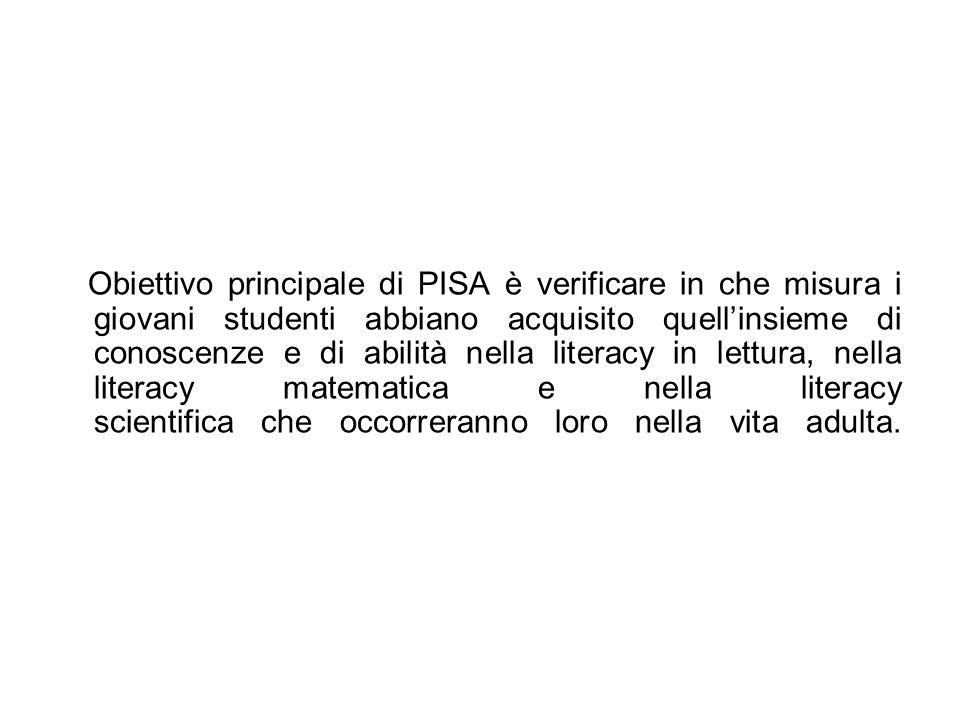 Obiettivo principale di PISA è verificare in che misura i giovani studenti abbiano acquisito quell'insieme di conoscenze e di abilità nella literacy in lettura, nella literacy matematica e nella literacy scientifica che occorreranno loro nella vita adulta.