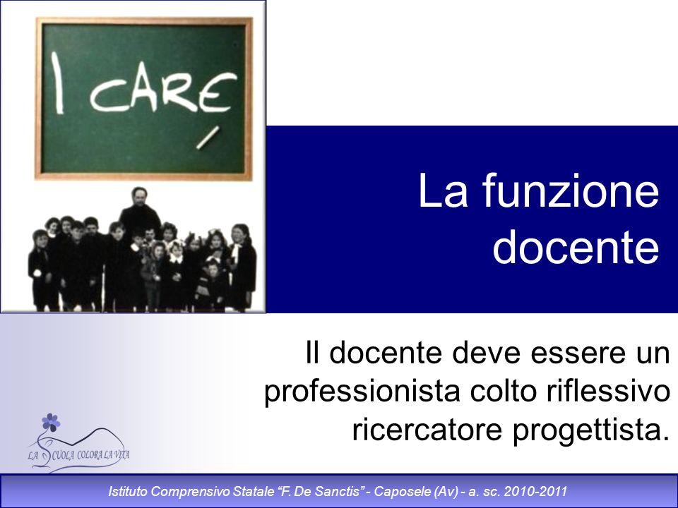 La funzione docente Il docente deve essere un professionista colto riflessivo ricercatore progettista.