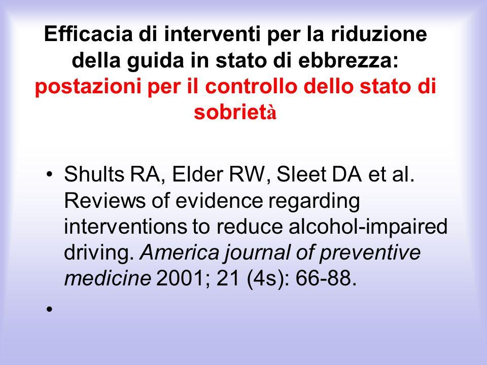 Efficacia di interventi per la riduzione della guida in stato di ebbrezza: postazioni per il controllo dello stato di sobrietà