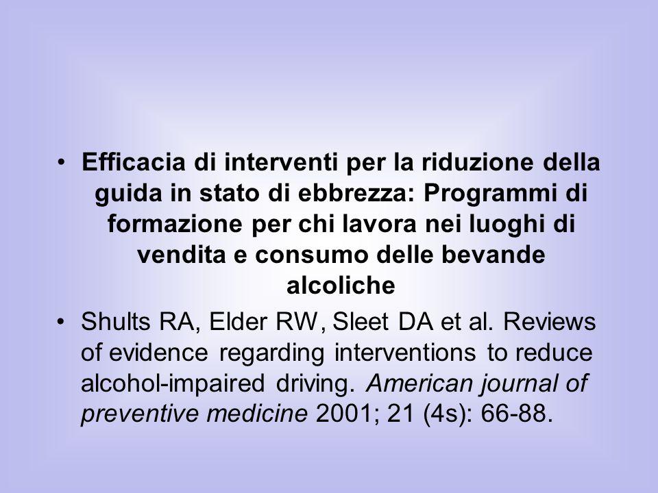 Efficacia di interventi per la riduzione della guida in stato di ebbrezza: Programmi di formazione per chi lavora nei luoghi di vendita e consumo delle bevande alcoliche