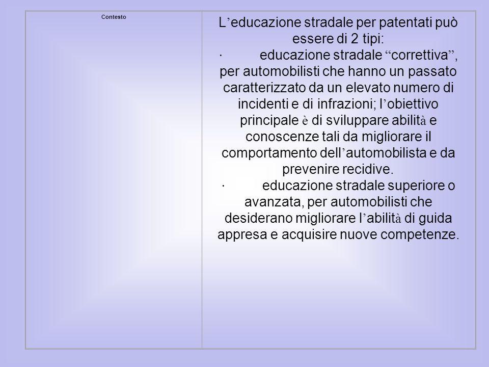 L'educazione stradale per patentati può essere di 2 tipi: