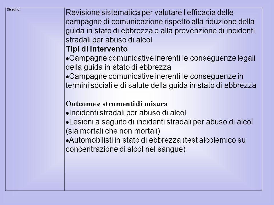 Outcome e strumenti di misura Incidenti stradali per abuso di alcol
