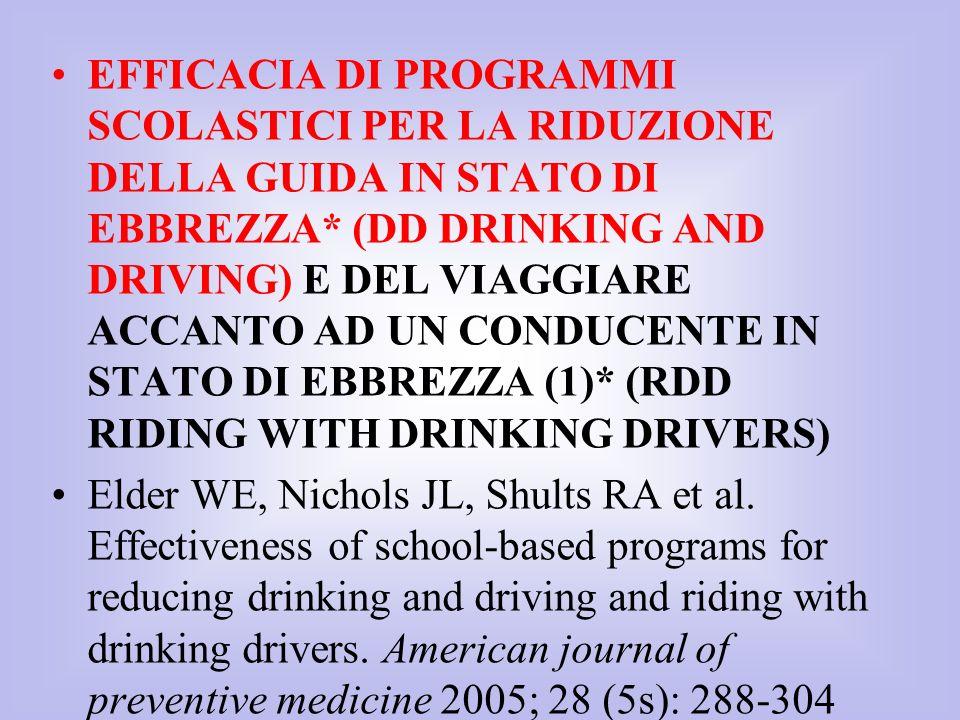 EFFICACIA DI PROGRAMMI SCOLASTICI PER LA RIDUZIONE DELLA GUIDA IN STATO DI EBBREZZA* (DD DRINKING AND DRIVING) E DEL VIAGGIARE ACCANTO AD UN CONDUCENTE IN STATO DI EBBREZZA (1)* (RDD RIDING WITH DRINKING DRIVERS)