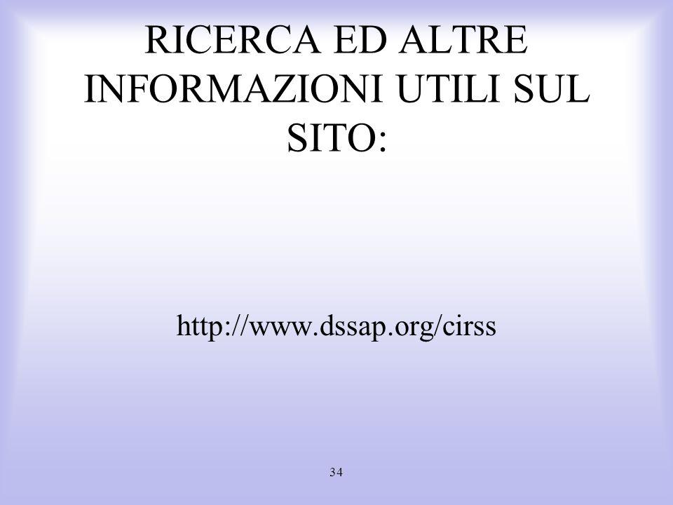 RICERCA ED ALTRE INFORMAZIONI UTILI SUL SITO: