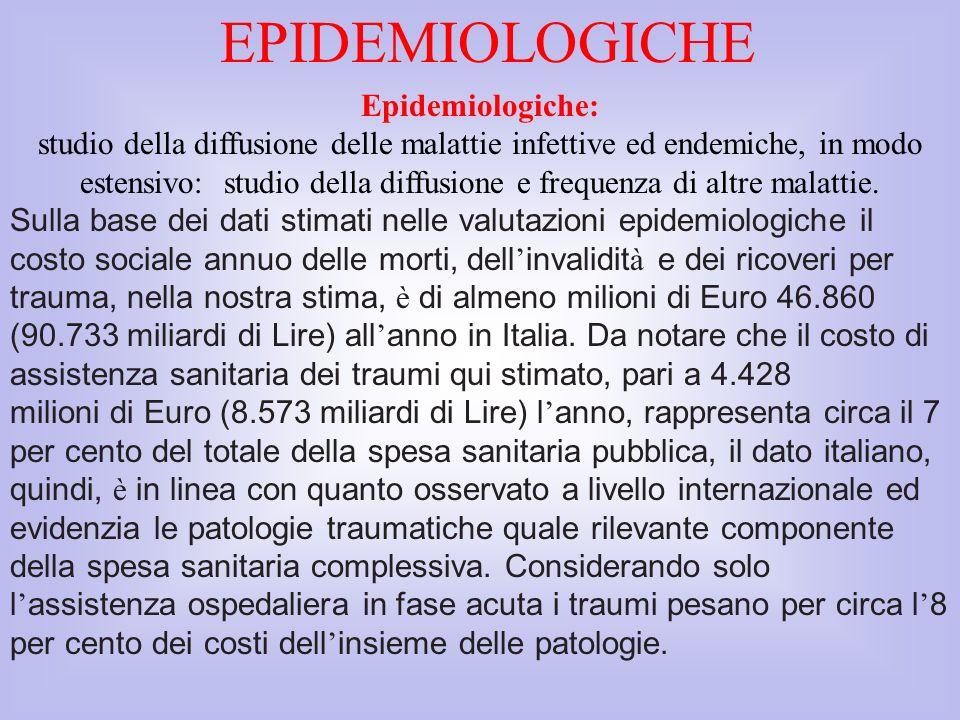 EPIDEMIOLOGICHE Epidemiologiche:
