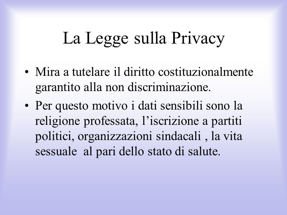 La Legge sulla Privacy Mira a tutelare il diritto costituzionalmente garantito alla non discriminazione.