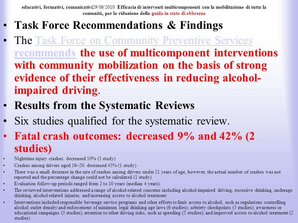 Task Force Recommendations & Findings