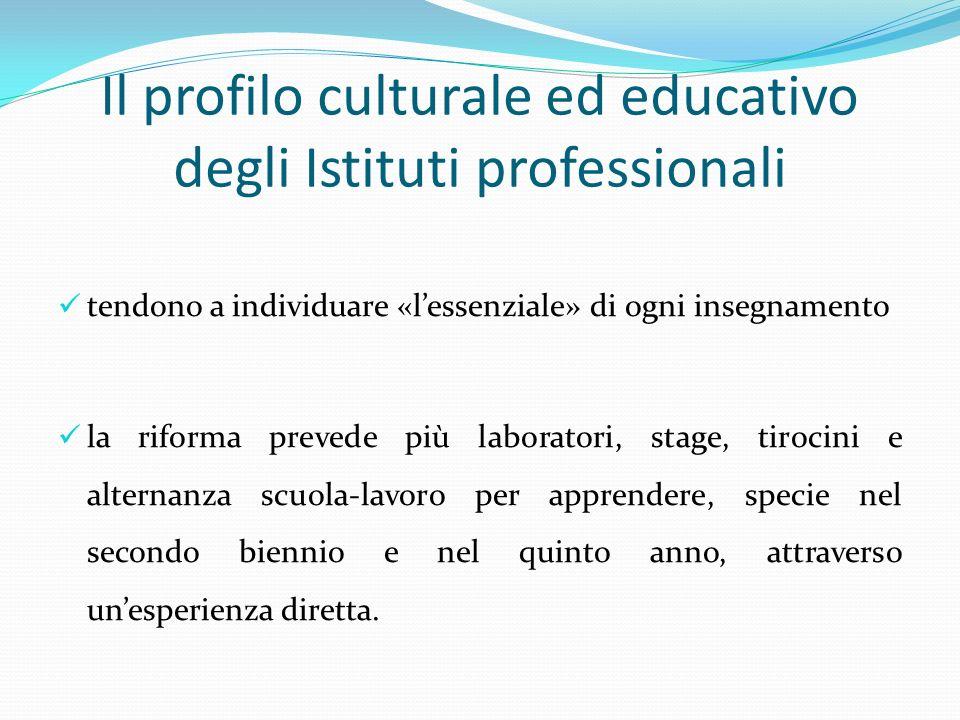 Il profilo culturale ed educativo degli Istituti professionali