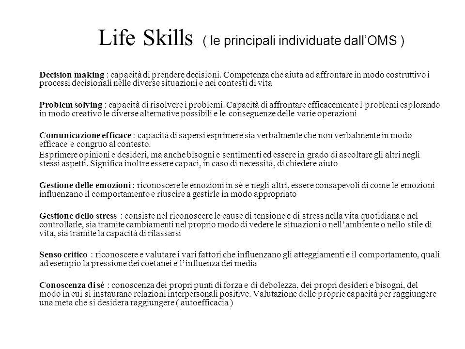 Life Skills ( le principali individuate dall'OMS )
