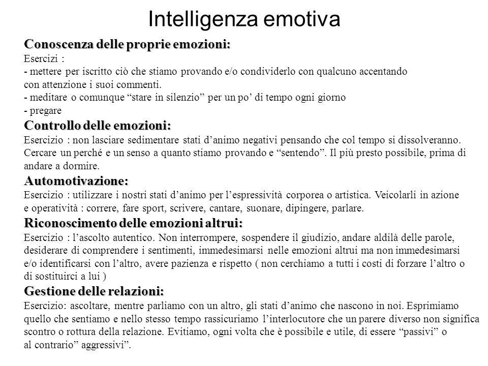 Intelligenza emotiva Conoscenza delle proprie emozioni: