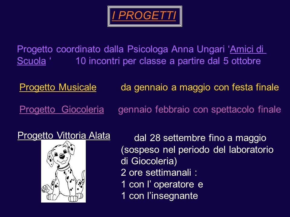 I PROGETTI Progetto coordinato dalla Psicologa Anna Ungari 'Amici di