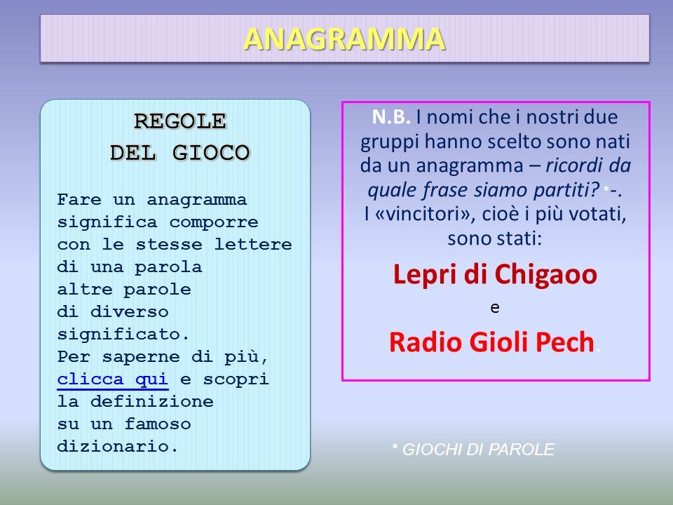 ANAGRAMMA Lepri di Chigaoo Radio Gioli Pech. REGOLE DEL GIOCO