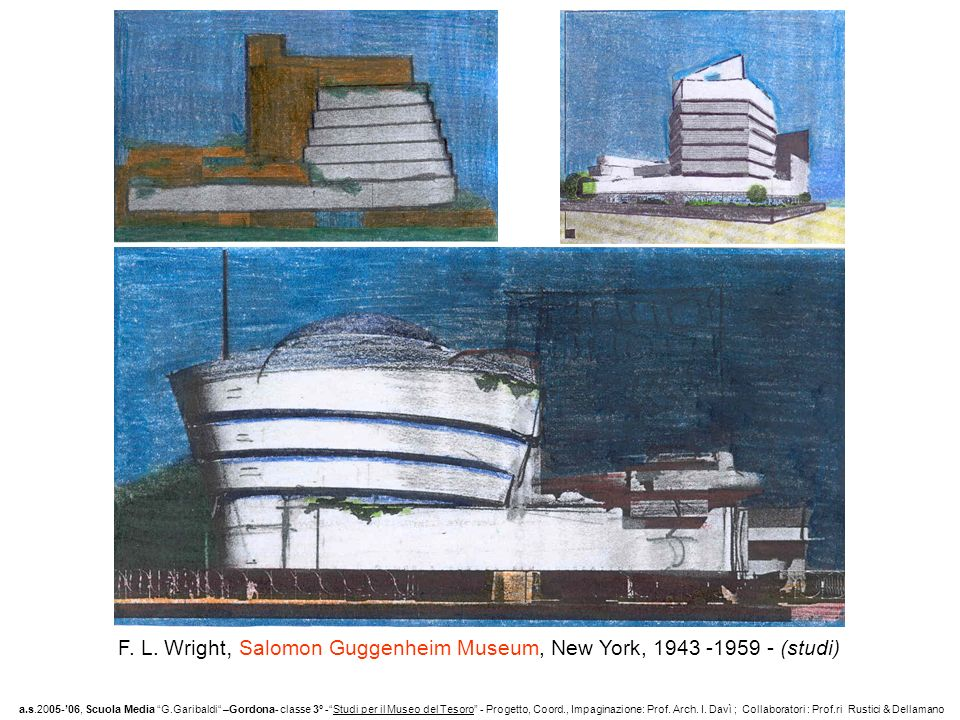 F. L. Wright, Salomon Guggenheim Museum, New York, (studi)