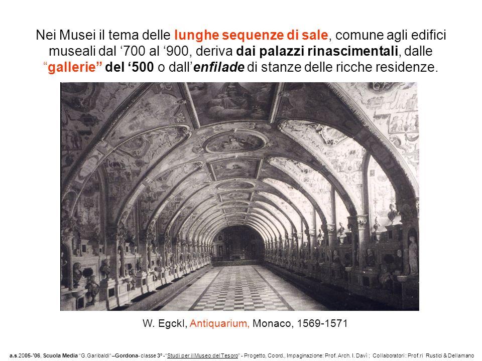 Nei Musei il tema delle lunghe sequenze di sale, comune agli edifici museali dal '700 al '900, deriva dai palazzi rinascimentali, dalle gallerie del '500 o dall'enfilade di stanze delle ricche residenze.