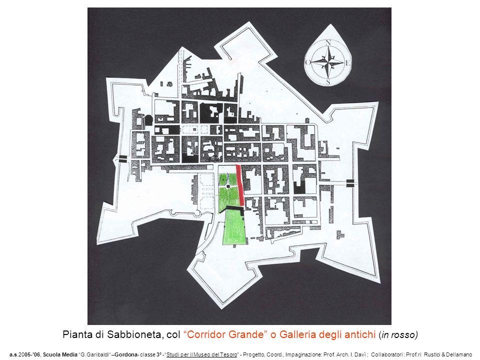 Pianta di Sabbioneta, col Corridor Grande o Galleria degli antichi (in rosso)