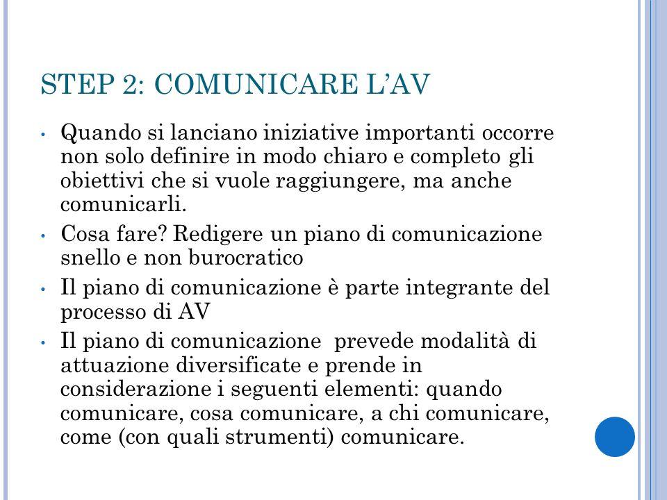 STEP 2: COMUNICARE L'AV