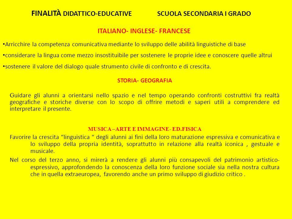 FINALITÀ DIDATTICO-EDUCATIVE SCUOLA SECONDARIA I GRADO
