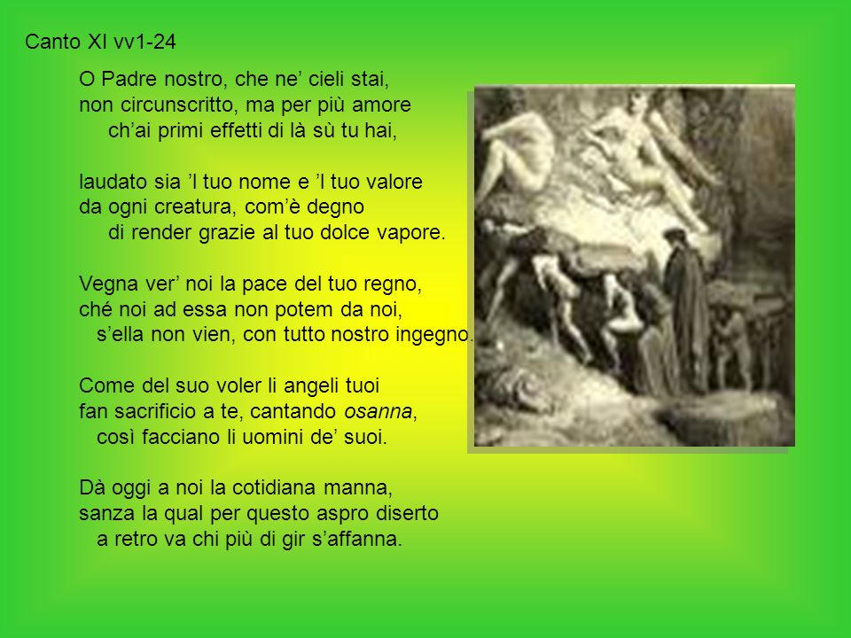 Canto XI vv1-24 O Padre nostro, che ne' cieli stai, non circunscritto, ma per più amore. ch'ai primi effetti di là sù tu hai,