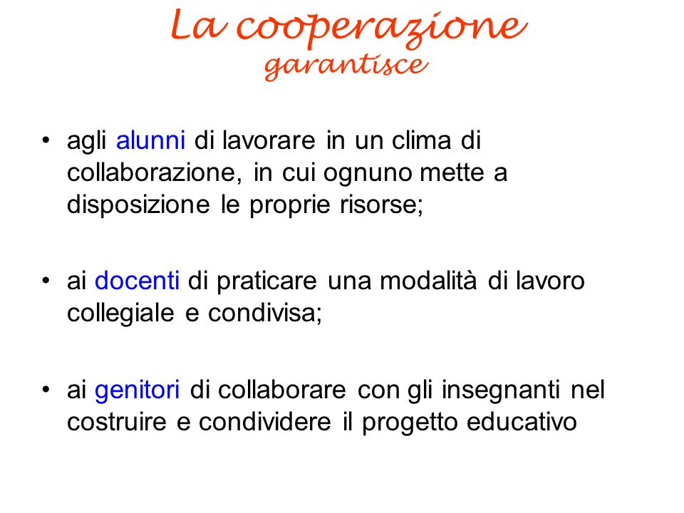 La cooperazione garantisce