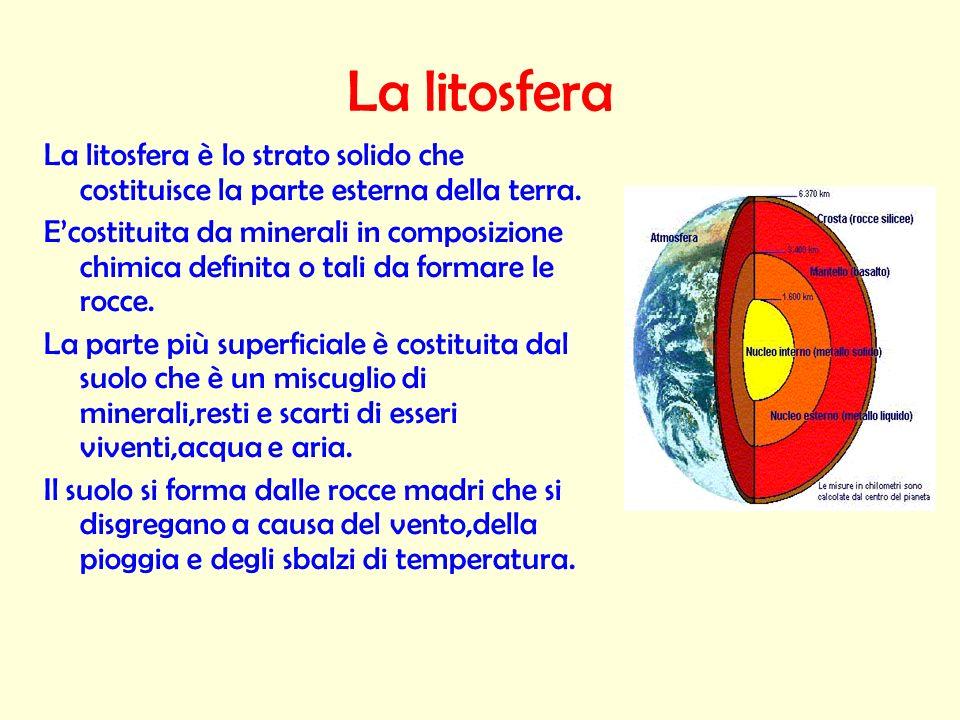 La litosfera La litosfera è lo strato solido che costituisce la parte esterna della terra.