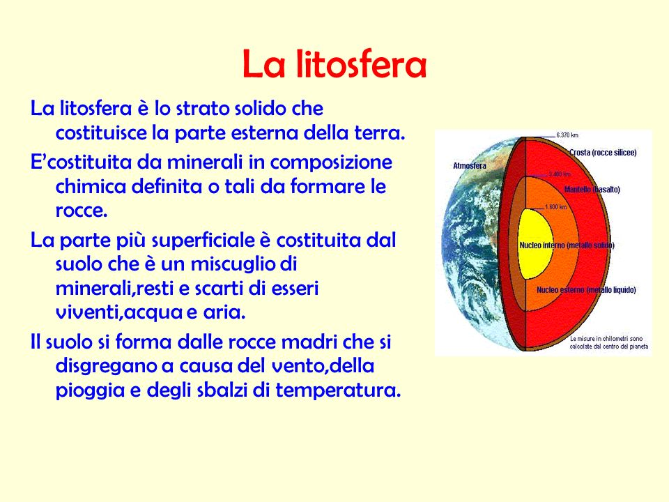 La litosferaLa litosfera è lo strato solido che costituisce la parte esterna della terra.