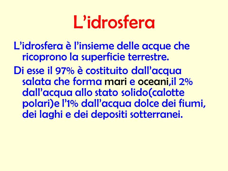 L'idrosfera L'idrosfera è l'insieme delle acque che ricoprono la superficie terrestre.