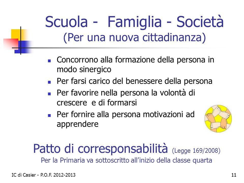 Scuola - Famiglia - Società (Per una nuova cittadinanza)