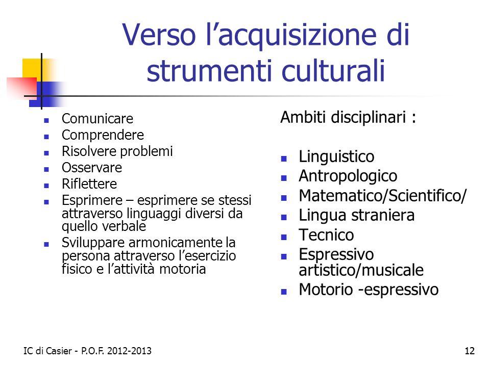 Verso l'acquisizione di strumenti culturali