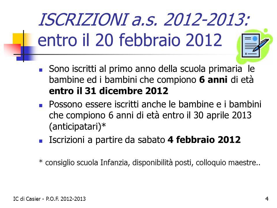 ISCRIZIONI a.s. 2012-2013: entro il 20 febbraio 2012