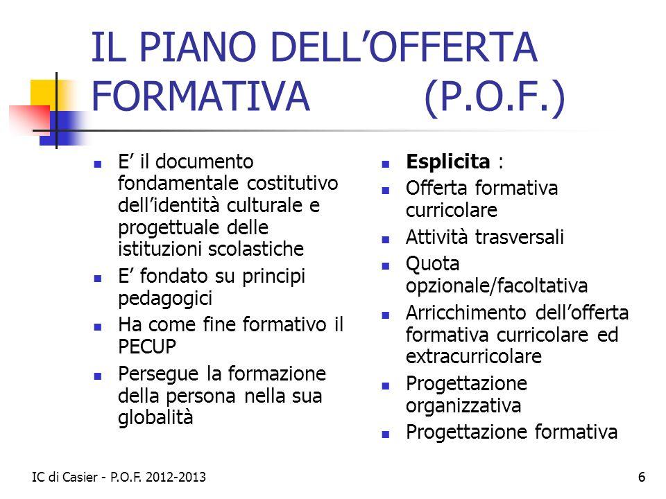 IL PIANO DELL'OFFERTA FORMATIVA (P.O.F.)