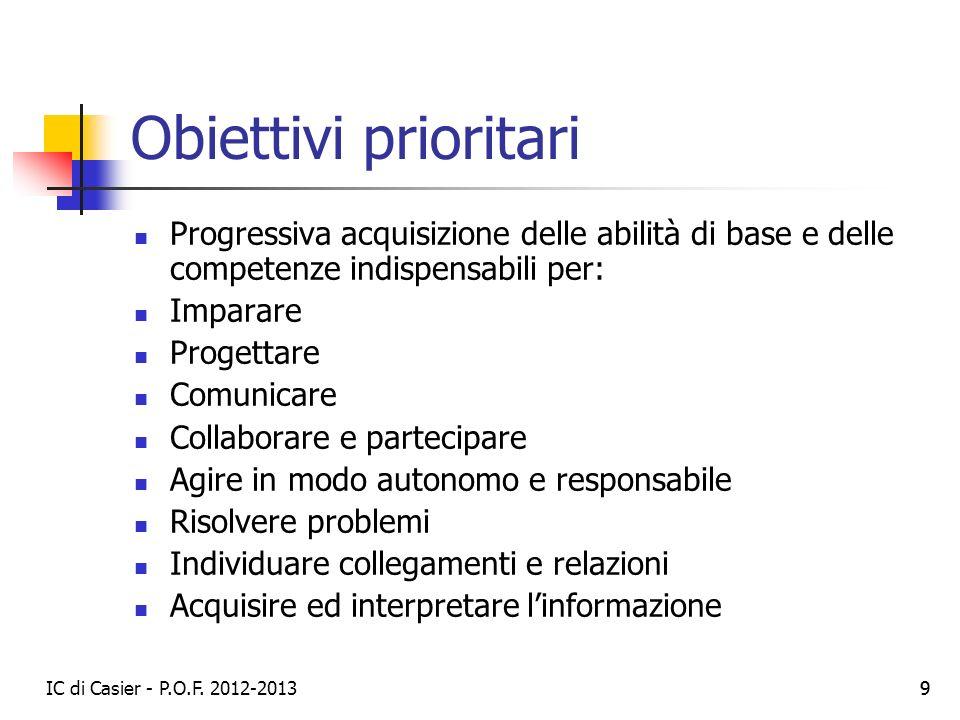 Obiettivi prioritari Progressiva acquisizione delle abilità di base e delle competenze indispensabili per: