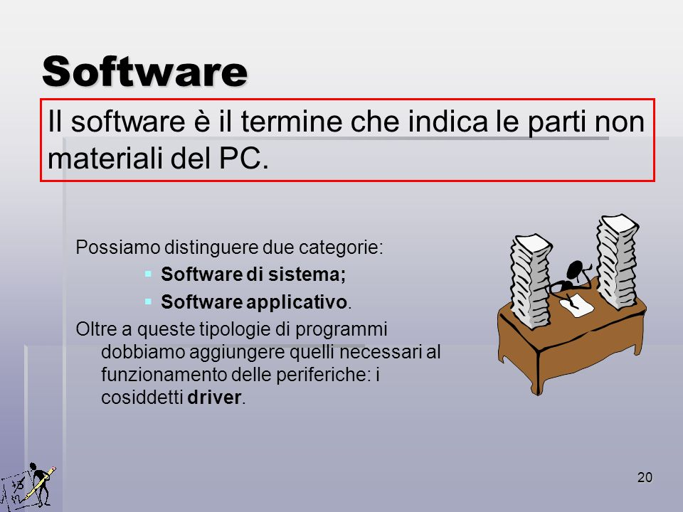 Software Il software è il termine che indica le parti non materiali del PC. Possiamo distinguere due categorie: