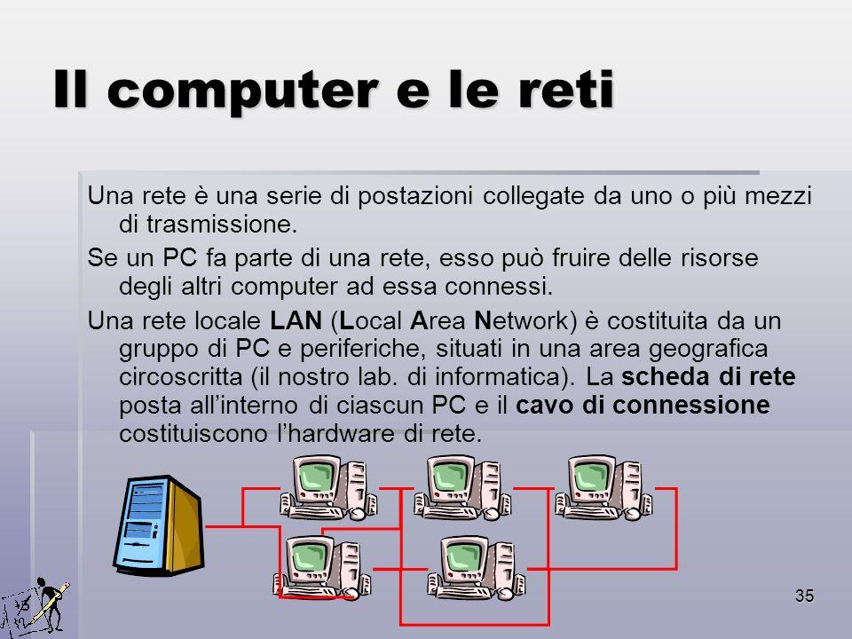 Il computer e le reti Una rete è una serie di postazioni collegate da uno o più mezzi di trasmissione.