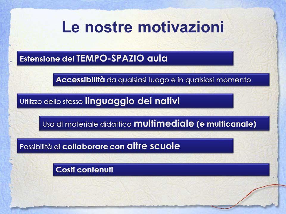 Le nostre motivazioni Estensione del TEMPO-SPAZIO aula