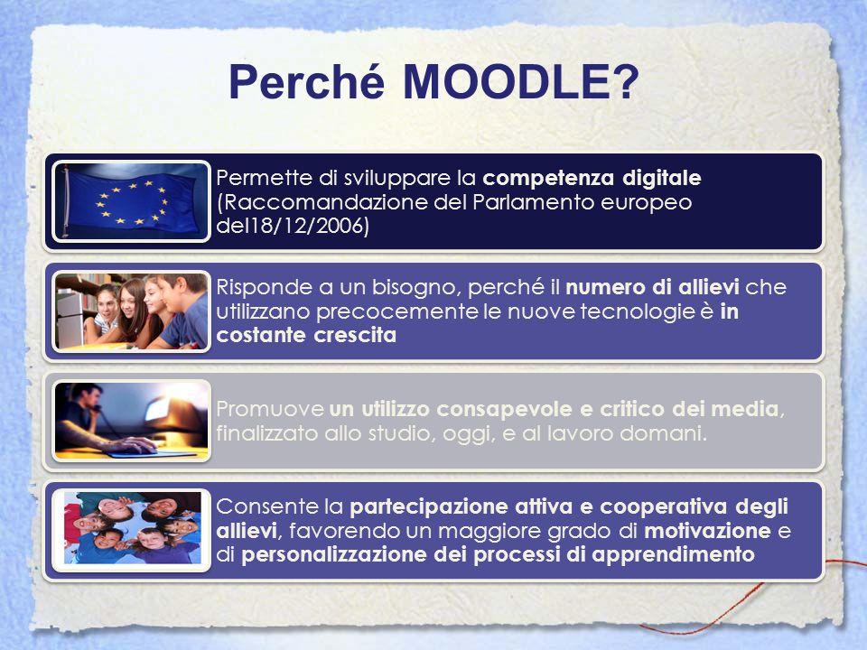 Perché MOODLE Permette di sviluppare la competenza digitale (Raccomandazione del Parlamento europeo del18/12/2006)