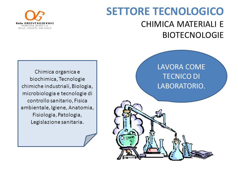 SETTORE TECNOLOGICO CHIMICA MATERIALI E BIOTECNOLOGIE