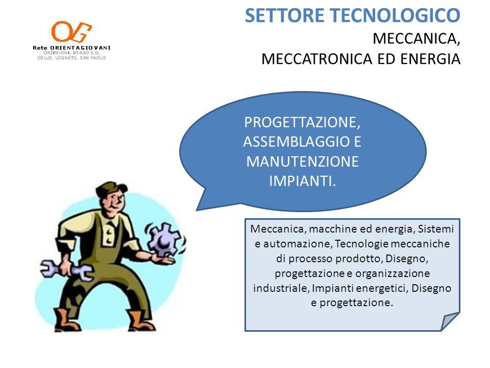 SETTORE TECNOLOGICO MECCANICA, MECCATRONICA ED ENERGIA