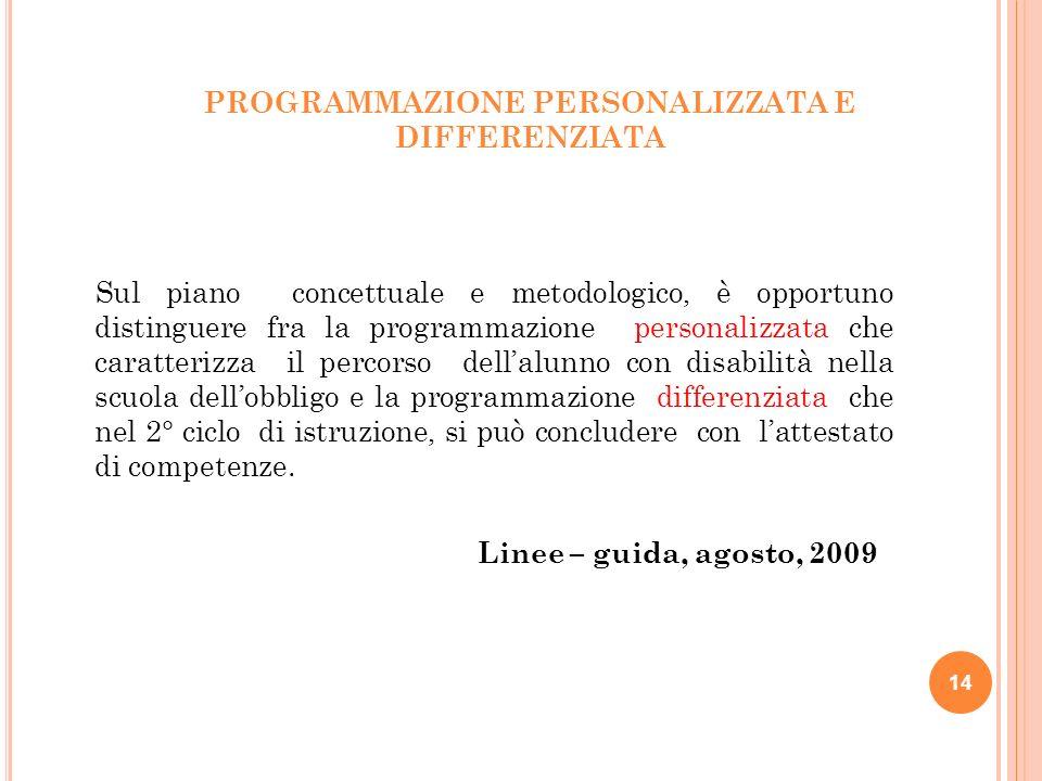 PROGRAMMAZIONE PERSONALIZZATA E DIFFERENZIATA