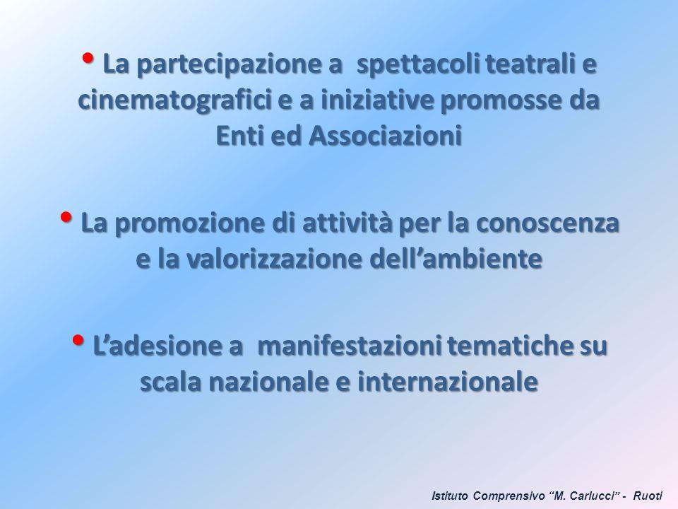 La partecipazione a spettacoli teatrali e cinematografici e a iniziative promosse da Enti ed Associazioni