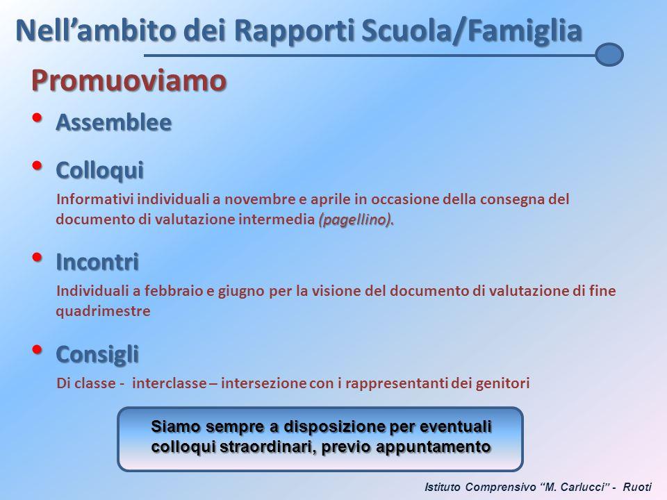 Nell'ambito dei Rapporti Scuola/Famiglia