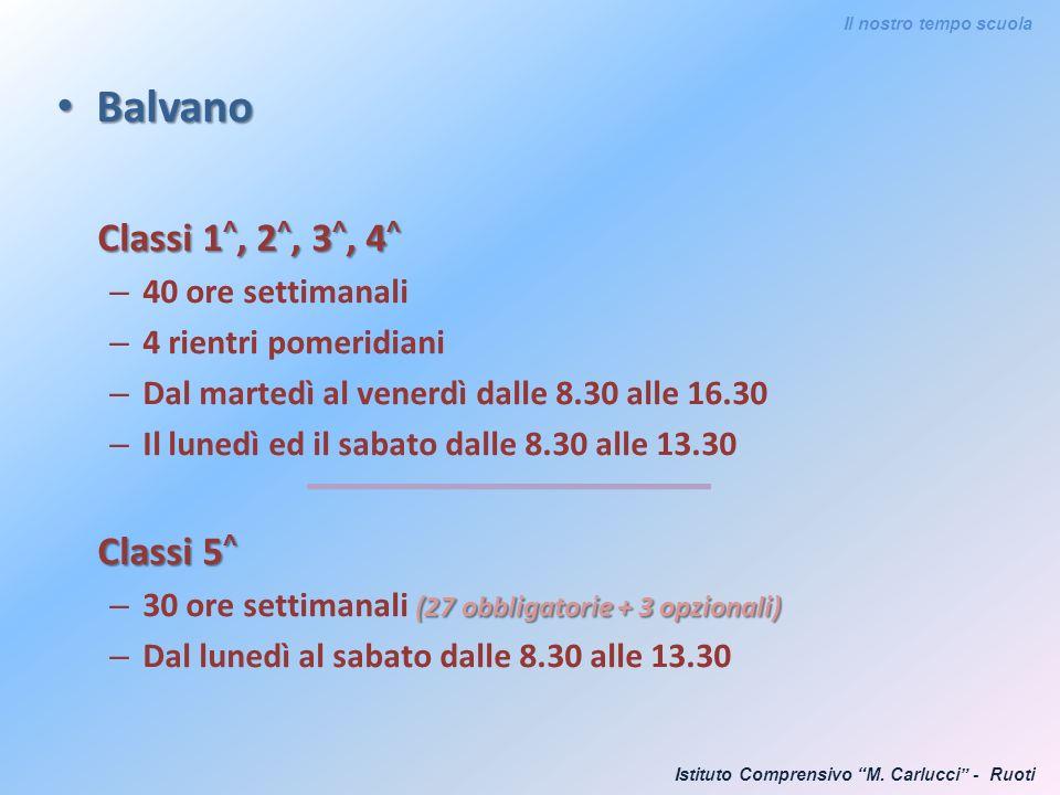 Balvano Classi 1^, 2^, 3^, 4^ Classi 5^ 40 ore settimanali