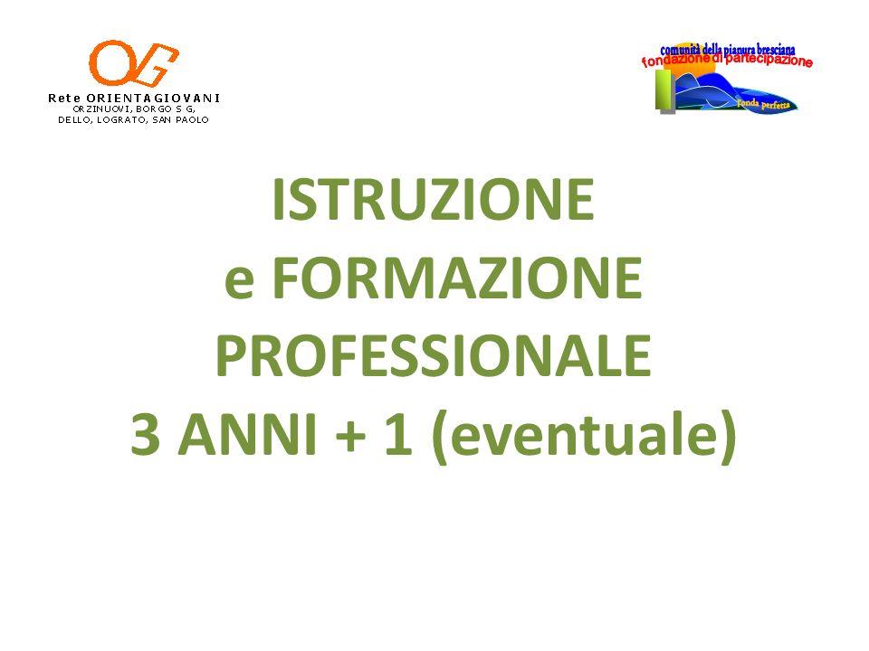 ISTRUZIONE e FORMAZIONE PROFESSIONALE 3 ANNI + 1 (eventuale)