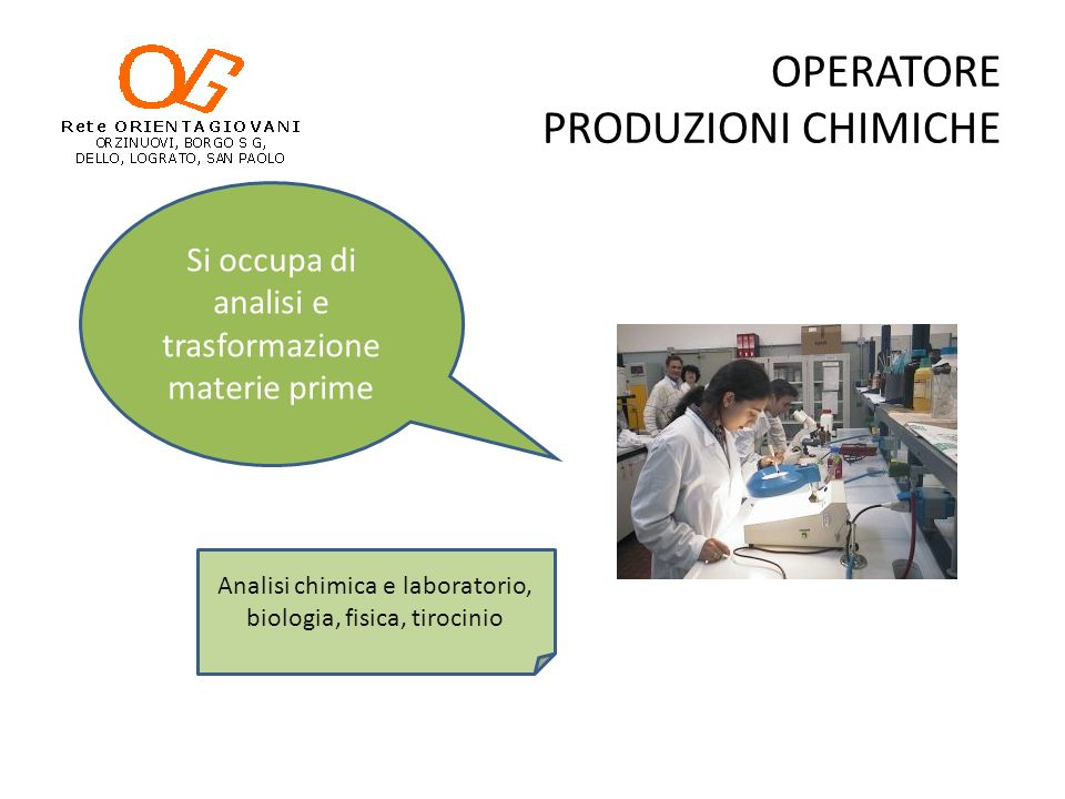 OPERATORE PRODUZIONI CHIMICHE
