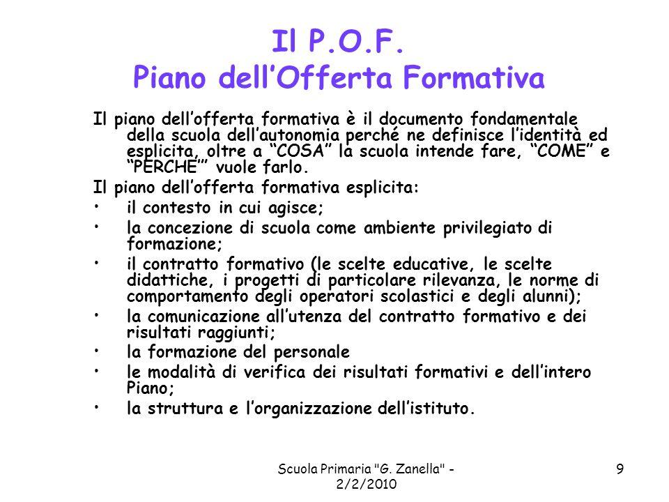 Il P.O.F. Piano dell'Offerta Formativa