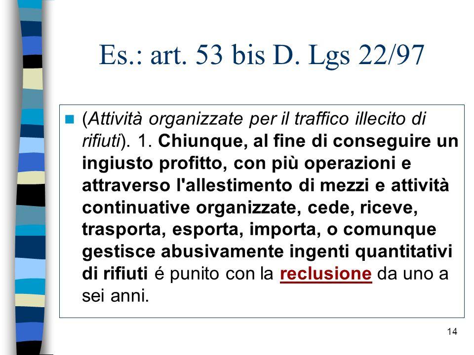 Es.: art. 53 bis D. Lgs 22/97