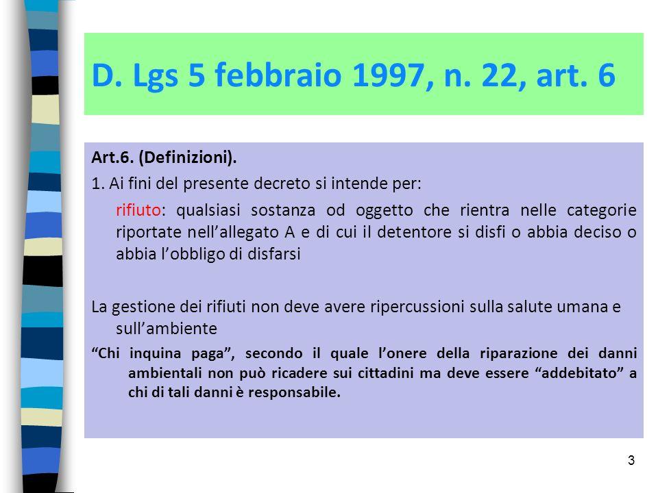 D. Lgs 5 febbraio 1997, n. 22, art. 6 Art.6. (Definizioni).