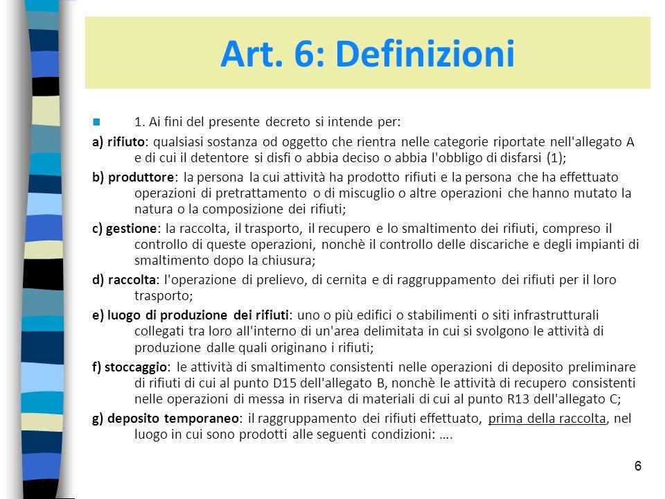 Art. 6: Definizioni 1. Ai fini del presente decreto si intende per: