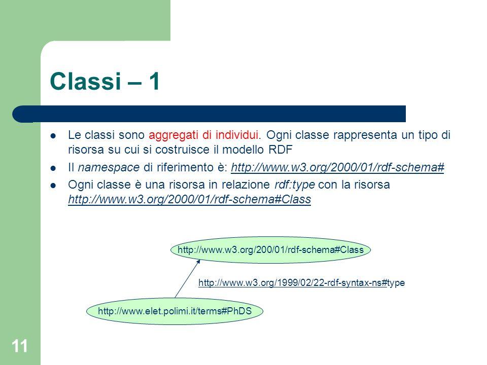 Classi – 1 Le classi sono aggregati di individui. Ogni classe rappresenta un tipo di risorsa su cui si costruisce il modello RDF.
