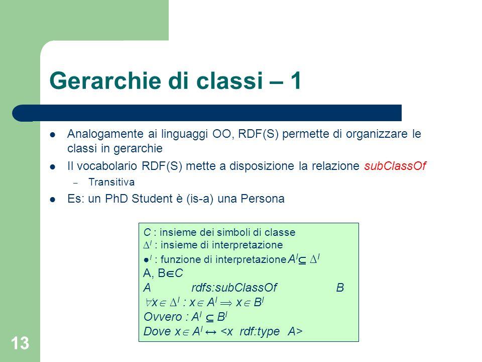 Gerarchie di classi – 1 Analogamente ai linguaggi OO, RDF(S) permette di organizzare le classi in gerarchie.